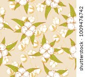 seamless pattern with cotton... | Shutterstock .eps vector #1009476742