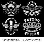 set of monochrome tattoo... | Shutterstock .eps vector #1009479946