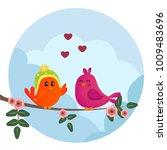 cute orange and pink birds... | Shutterstock .eps vector #1009483696