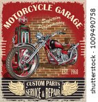 vintage motorcycle poster. | Shutterstock .eps vector #1009490758