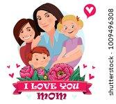 mom is hugging three children....   Shutterstock .eps vector #1009496308