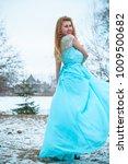 beautiful young girl in a long... | Shutterstock . vector #1009500682