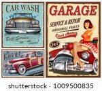 set of vintage car metal signs... | Shutterstock .eps vector #1009500835