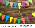 paper  flags  party garland  on ... | Shutterstock . vector #1009505998