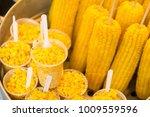 sweet corns boiled on stainless ... | Shutterstock . vector #1009559596