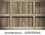 old wood shelf on wooden wall. | Shutterstock . vector #100955965