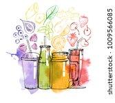 watercolor vector set of... | Shutterstock .eps vector #1009566085