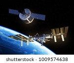 cargo spaceship is preparing to ... | Shutterstock . vector #1009574638
