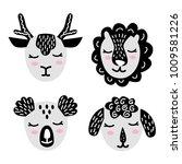 set of muzzles or faces of wild ... | Shutterstock .eps vector #1009581226