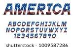 font with usa flag grange... | Shutterstock .eps vector #1009587286