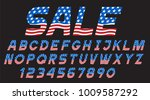 font with usa flag  alphabet... | Shutterstock .eps vector #1009587292