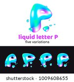 p letter is an aqua logo.... | Shutterstock .eps vector #1009608655
