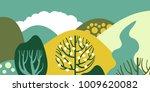 trees broadleaf in a flat style.... | Shutterstock .eps vector #1009620082