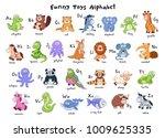 funny animals alphabet. cute... | Shutterstock .eps vector #1009625335