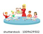 children in art class two... | Shutterstock .eps vector #1009629502
