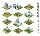 city quarter top view | Shutterstock . vector #1009630402