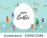 happy easter scene with... | Shutterstock .eps vector #1009672288