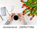woman hands with cup of coffee... | Shutterstock . vector #1009677586