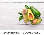 Avocado And Avocado Oil On A...