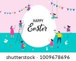 happy easter scene with... | Shutterstock .eps vector #1009678696