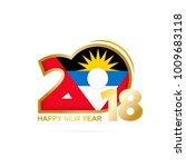 year 2018 with antigua and... | Shutterstock . vector #1009683118