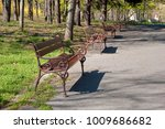 beautiful wooden benches on the ...   Shutterstock . vector #1009686682