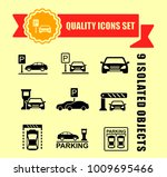 parking icon set with red tape... | Shutterstock .eps vector #1009695466