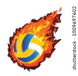 volleyball in flame  ball in... | Shutterstock .eps vector #1009697602