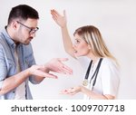male patient rejecting to take... | Shutterstock . vector #1009707718