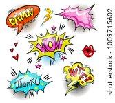 vector vintage pop art patches... | Shutterstock .eps vector #1009715602