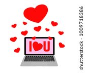 pink bacground computer laptop... | Shutterstock .eps vector #1009718386