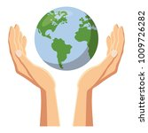 hands holding globe earth icon. ... | Shutterstock .eps vector #1009726282