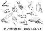 set of hand drawn hands. | Shutterstock .eps vector #1009733785