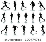 running silhouettes with... | Shutterstock .eps vector #100974766