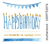 vector happy birthday blue card ...   Shutterstock .eps vector #1009752076