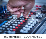 sound mixer control faders on a ... | Shutterstock . vector #1009757632