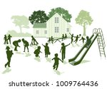 fun kids are playing in the... | Shutterstock . vector #1009764436