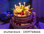 delicous cake with burning... | Shutterstock . vector #1009768666