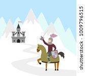cartoon knight on horseback and ... | Shutterstock .eps vector #1009796515