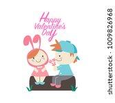love couple giving flower for... | Shutterstock .eps vector #1009826968