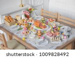 breakfast or brunch table... | Shutterstock . vector #1009828492