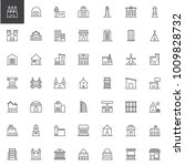 buildings line icons set ... | Shutterstock .eps vector #1009828732