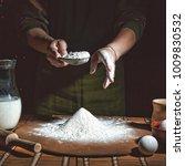 bakery. preparation of bread... | Shutterstock . vector #1009830532