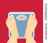 feet on weighing scales. vector ... | Shutterstock .eps vector #1009842016