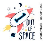 out of space slogan and space... | Shutterstock .eps vector #1009843558