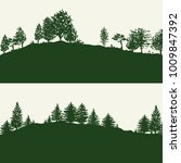 green forest trees silhouettes... | Shutterstock . vector #1009847392