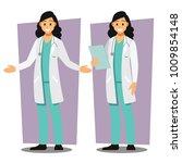 diverse set of female doctor  ... | Shutterstock .eps vector #1009854148