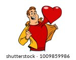 romantic man with a red heart... | Shutterstock .eps vector #1009859986