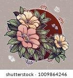 peony or rose flower branch...   Shutterstock .eps vector #1009864246