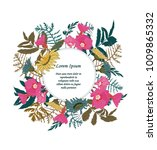 hand drawn floral card with...   Shutterstock .eps vector #1009865332